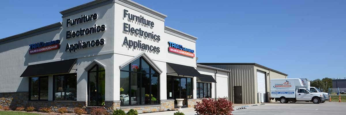 Exterior image of Triad Leasing furniture store located at 2204 Haskell Ave., Lawrence, KS